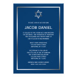 Invitations argentées bleues de Mitzvah de barre d
