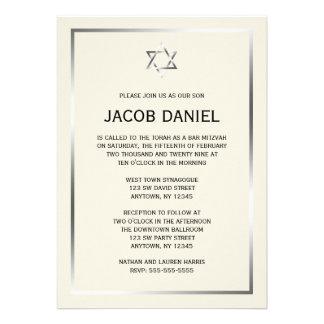 Invitations argentées de Mitzvah de barre d étoile