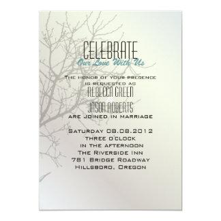 Invitations blanches de mariage d'arbre moderne carton d'invitation  12,7 cm x 17,78 cm
