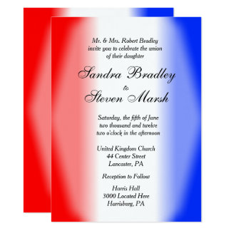 Invitations blanches et bleues rouges de mariage