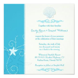 Invitations bleues de mariage de plage de Shell de