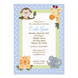 Invitations bleues du baby shower 5x7 de safari de