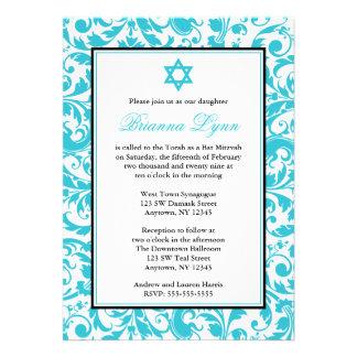 Invitations bleues turquoises de bat mitzvah de da