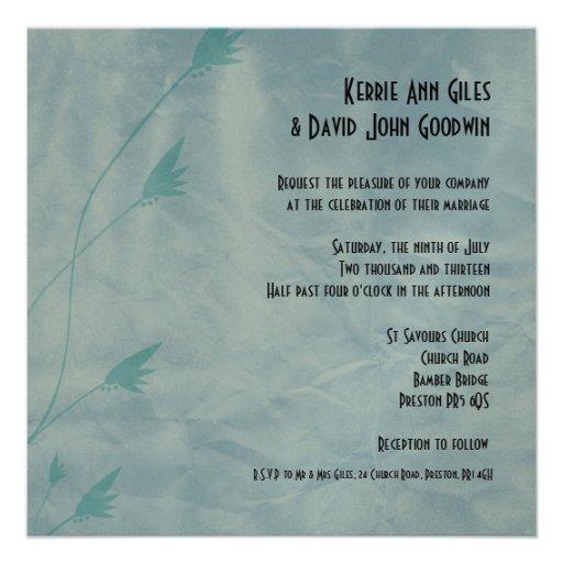 Invitations carrées de mariage - fleurs bleues âgé