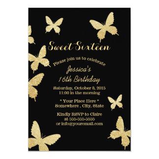 Invitations chics du bonbon 16 à papillons d'or