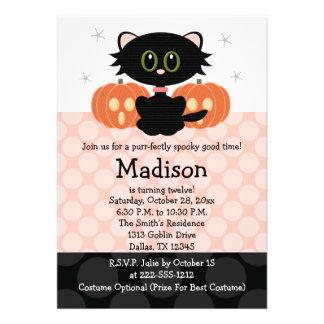 Invitations d anniversaire de Halloween de chat no