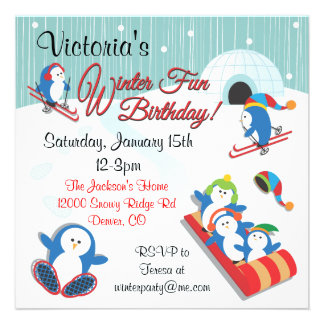 Invitations d'anniversaire d'amusement de l'hiver
