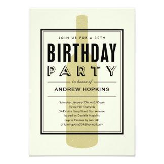 Invitations d'anniversaire de bouteille de vin