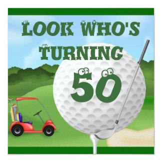 Invitations d'anniversaire de golf d'amusement carton d'invitation  13,33 cm