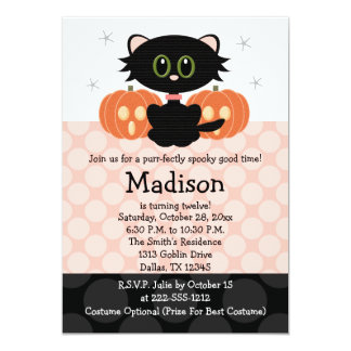 Invitations d'anniversaire de Halloween de chat