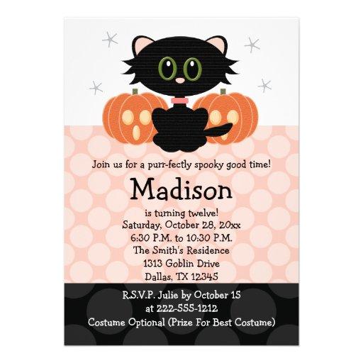 Invitations d'anniversaire de Halloween de chat no