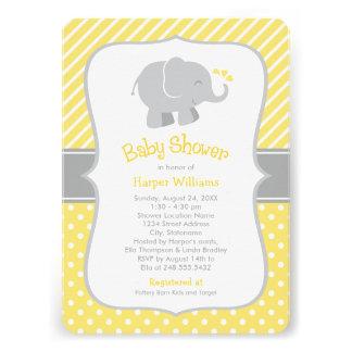 Invitations de baby shower d éléphant jaune et g