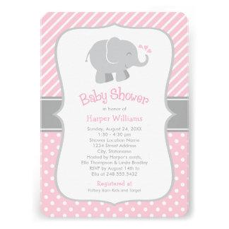 Invitations de baby shower d éléphant rose et gr