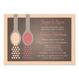 Invitations de baby shower de sucre et d'épice carton d'invitation  12,7 cm x 17,78 cm
