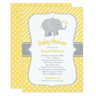 Invitations de baby shower d'éléphant   jaune et