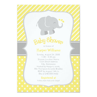 Invitations de baby shower d'éléphant | jaune et