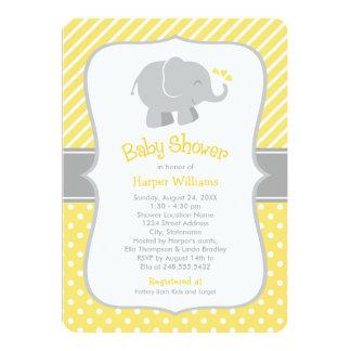 Invitations de baby shower d'éléphant | jaune et carton d'invitation  12,7 cm x 17,78 cm