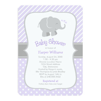 Invitations de baby shower d'éléphant | pourpre et