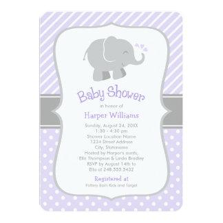 Invitations de baby shower d'éléphant | pourpre et carton d'invitation  12,7 cm x 17,78 cm