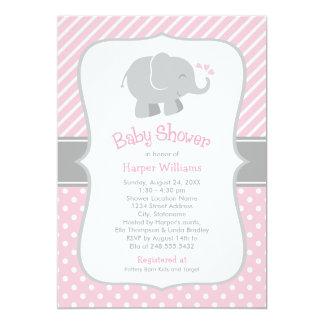 Invitations de baby shower d'éléphant   rose et