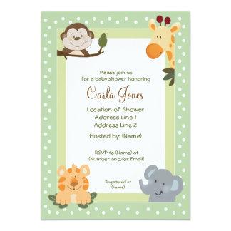 Invitations de baby shower du vert 5x7 de safari