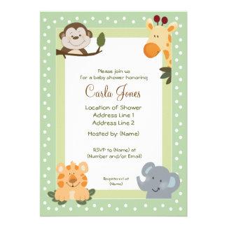 Invitations de baby shower du vert 5x7 de safari d