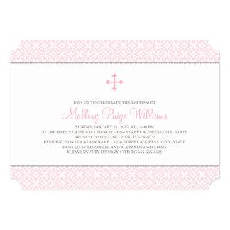 Invitations de baptême pour le motif rose du bébé