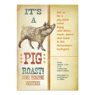 Invitations de cru de partie de rôti de porc carton d'invitation  12,7 cm x 17,78 cm