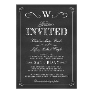 Invitations de fantaisie de mariage de monogramme
