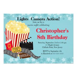 Invitations de fête d anniversaire de soirée ciném
