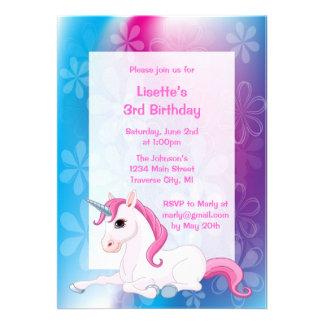 Invitations de fête d'anniversaire de licorne