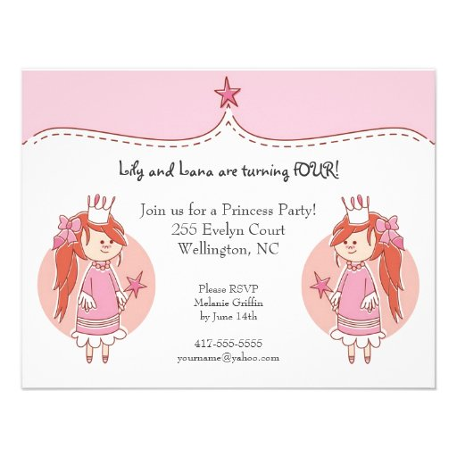 Invitations de fête d'anniversaire de princesse Tw