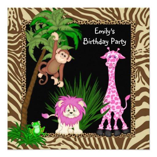 Invitations de fête d'anniversaire de safari de ju