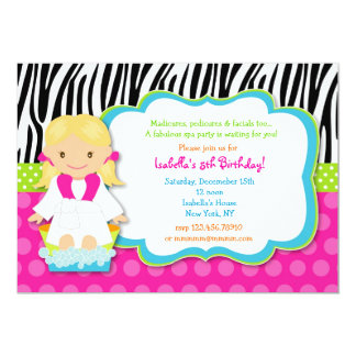 Invitations de fête d'anniversaire de spa carton d'invitation  12,7 cm x 17,78 cm