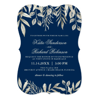 Invitations de mariage de bleu marine d'argent et