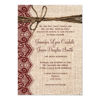 Invitations de mariage de ficelle de dentelle de