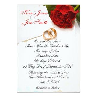 invitations de mariage de rose rouge carton d'invitation  12,7 cm x 17,78 cm