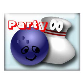 Invitations de partie de bowling personnalisables cartes postales
