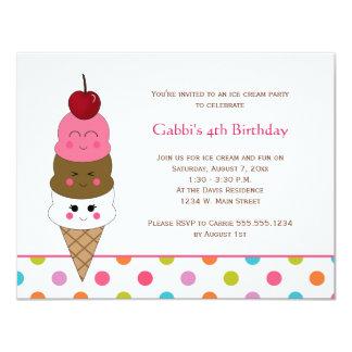 Invitations de partie de crème glacée de Kawaii Carton D'invitation 10,79 Cm X 13,97 Cm