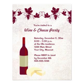 Invitations de partie de vin et de fromage