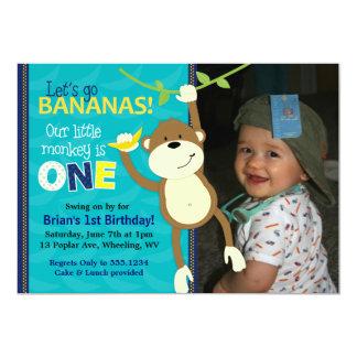 Invitations de photo d'anniversaire de bananes de