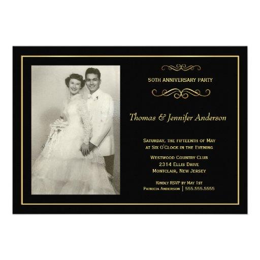 Invitations de photo d'anniversaire de mariage - c