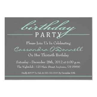 Invitations élégantes de fête d'anniversaire carton d'invitation  12,7 cm x 17,78 cm