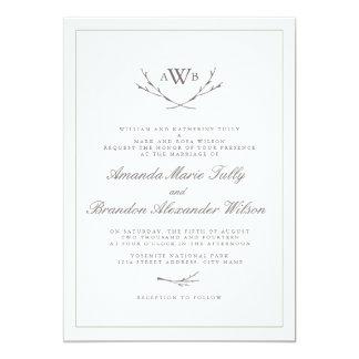 Invitations élégants de mariage de monogramme de