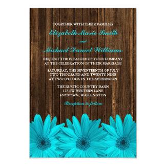 Invitations en bois de mariage de grange turquoise