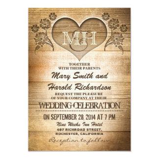 invitations en bois rustiques de mariage