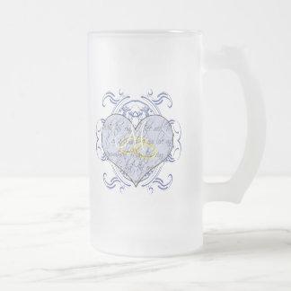 Invitations et cadeaux de mariage de monogramme mug en verre givré
