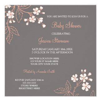 Invitations faites sur commande florales grises de