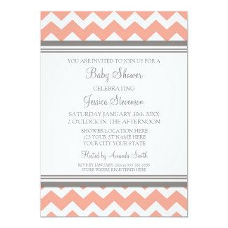 Invitations faites sur commande grises de corail carton d'invitation  12,7 cm x 17,78 cm
