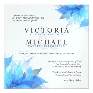 Invitations florales bleues et blanches profondes